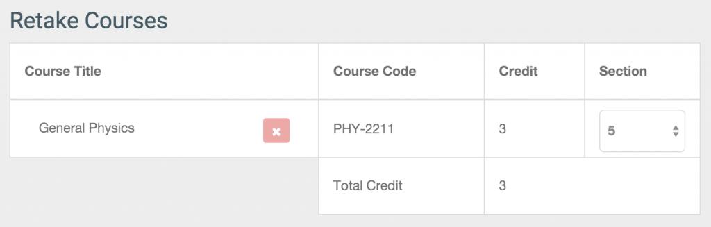 Retake courses