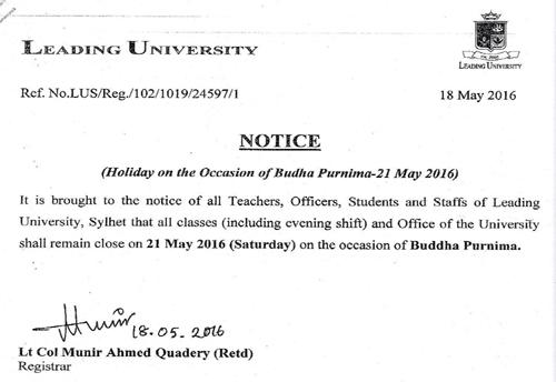 Notice 21 may