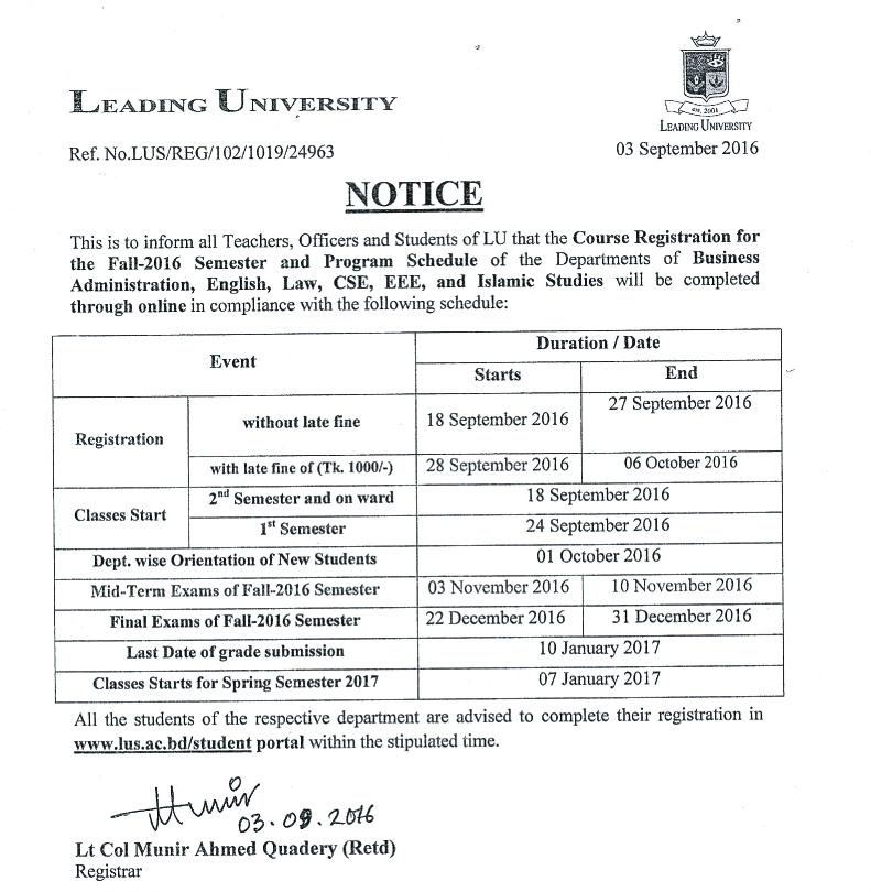 Notice for Registation Fall 2016 03.09.2016