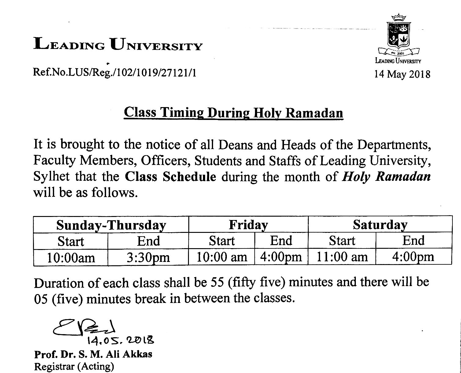 Regarding Office and Class timing during Holy Ramadan  – Leading
