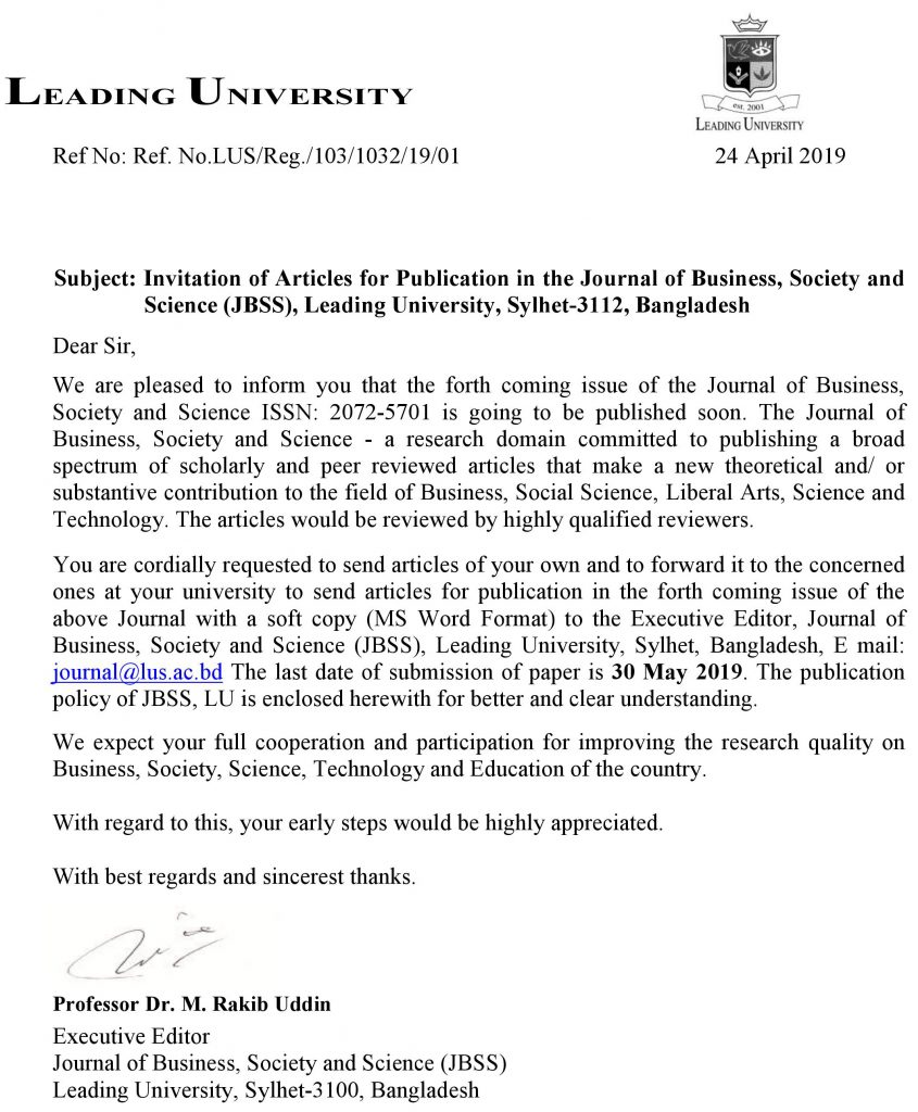 Call for Paper-2019 – Leading University